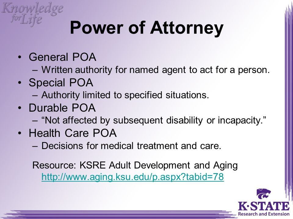 Power of Attorney General POA Special POA Durable POA Health Care POA