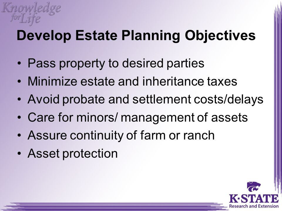 Develop Estate Planning Objectives