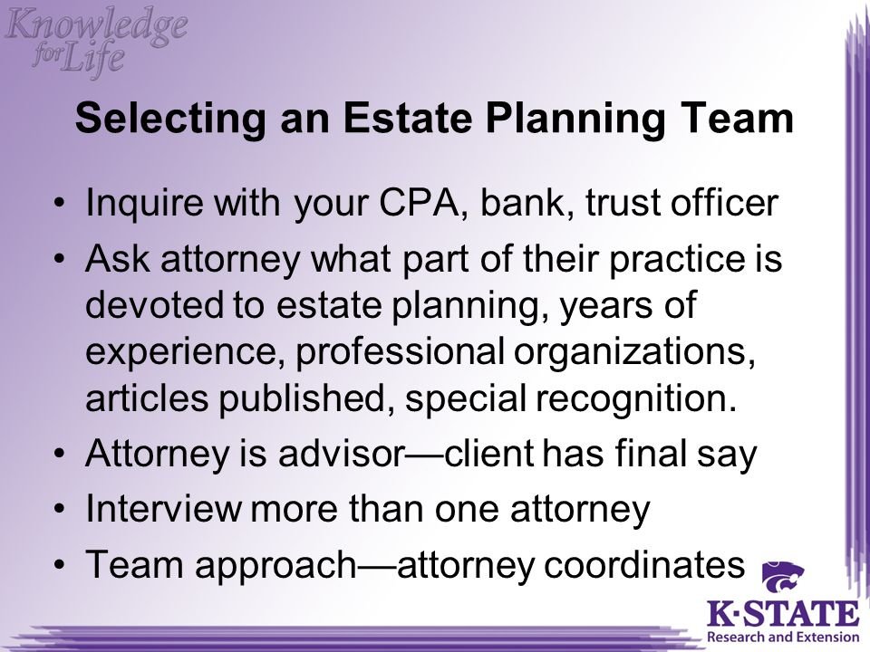 Selecting an Estate Planning Team
