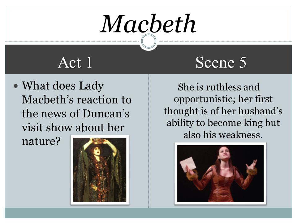 Macbeth Act 1. Scene 5. What does Lady Macbeth's reaction to the news of Duncan's visit show about her nature