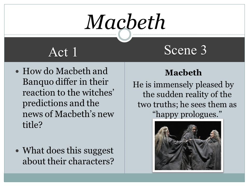 Macbeth Scene 3. Act 1. How do Macbeth and Banquo differ in their reaction to the witches' predictions and the news of Macbeth's new title