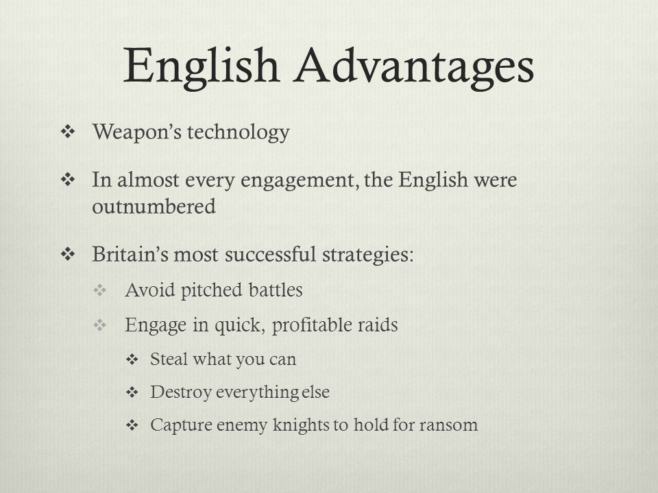 English Advantages Weapon's technology
