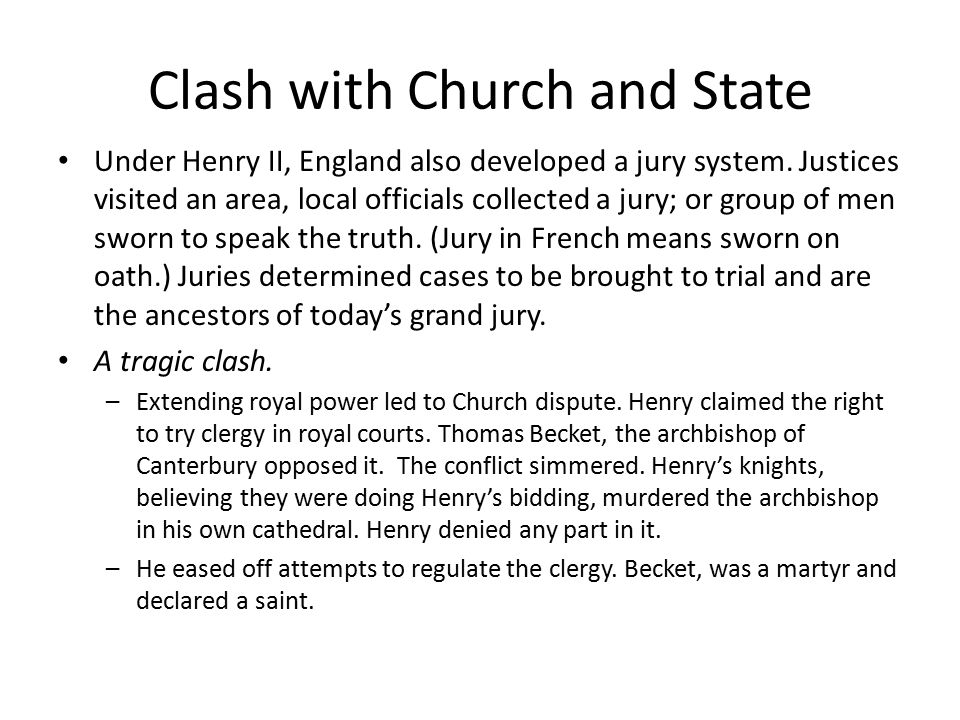 Clash with Church and State