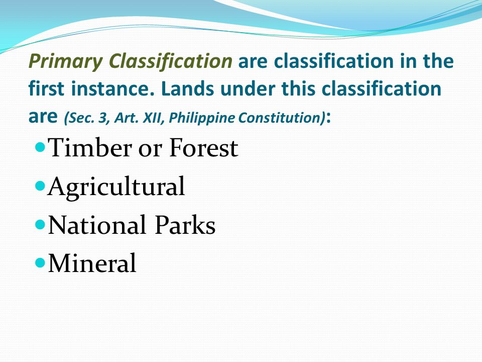 Timber or Forest Agricultural National Parks Mineral