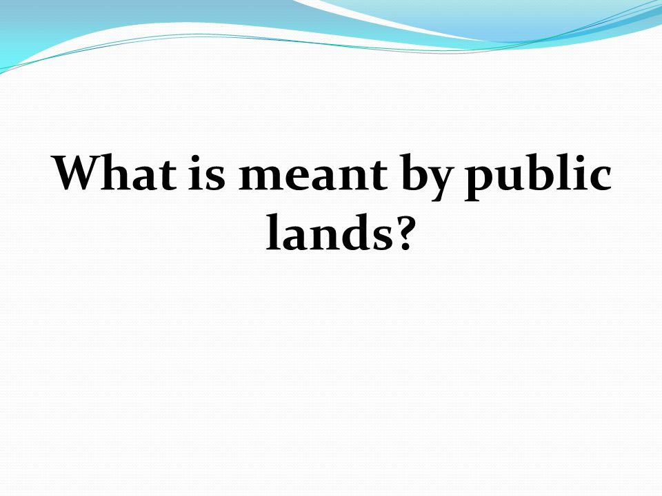What is meant by public lands