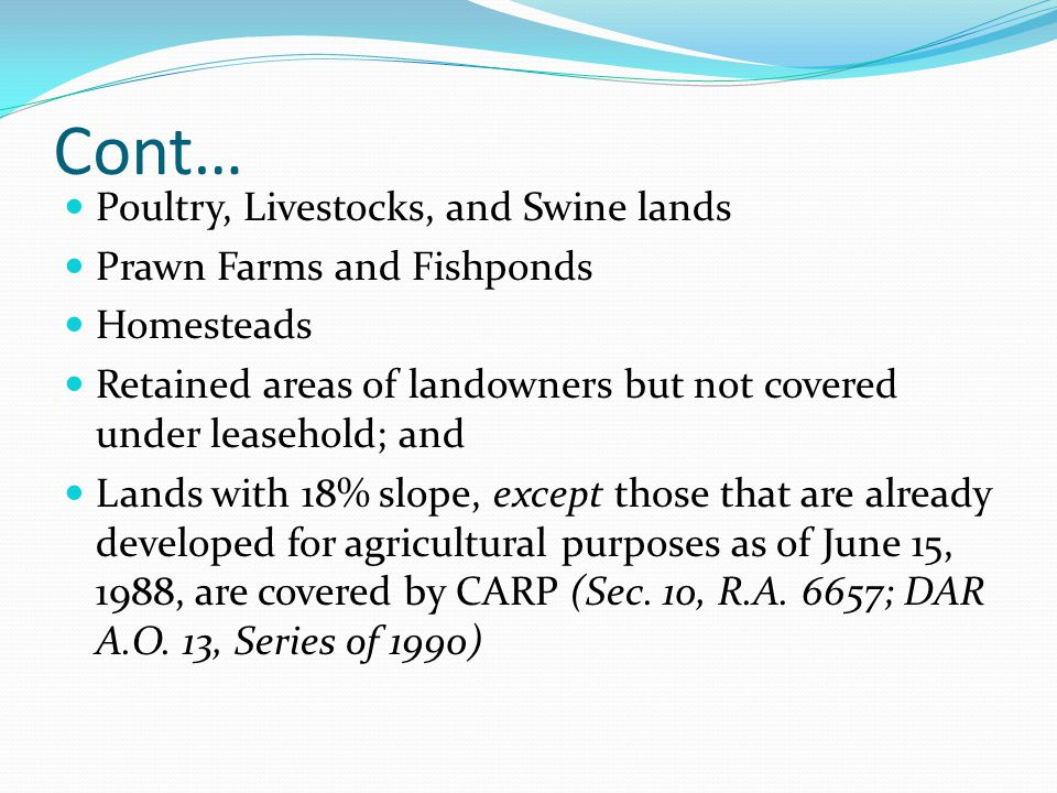 Cont… Poultry, Livestocks, and Swine lands Prawn Farms and Fishponds
