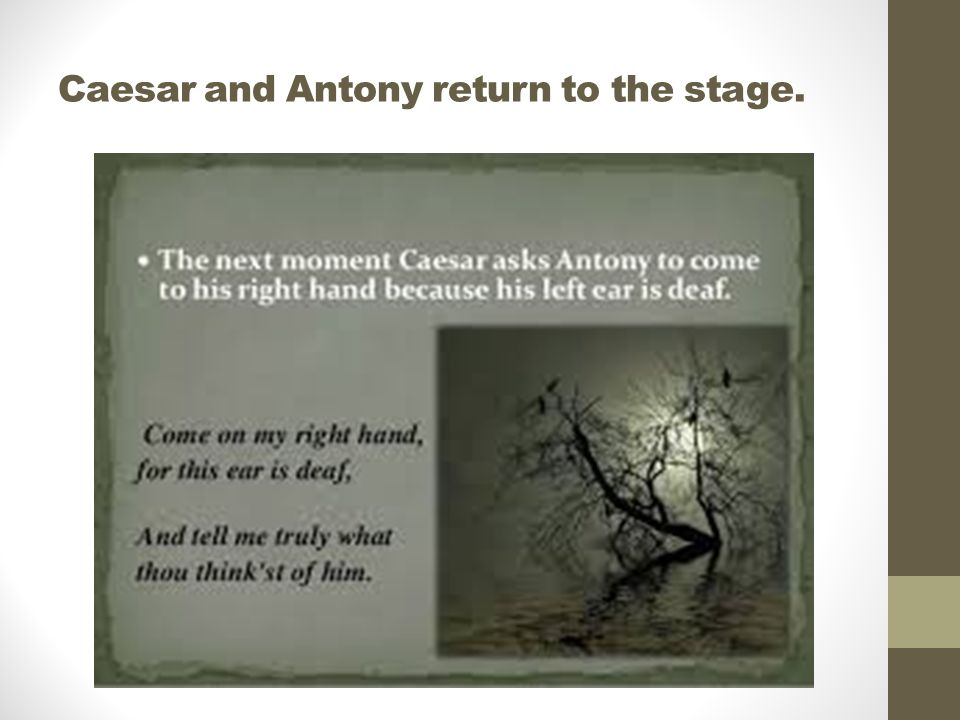 Caesar and Antony return to the stage.