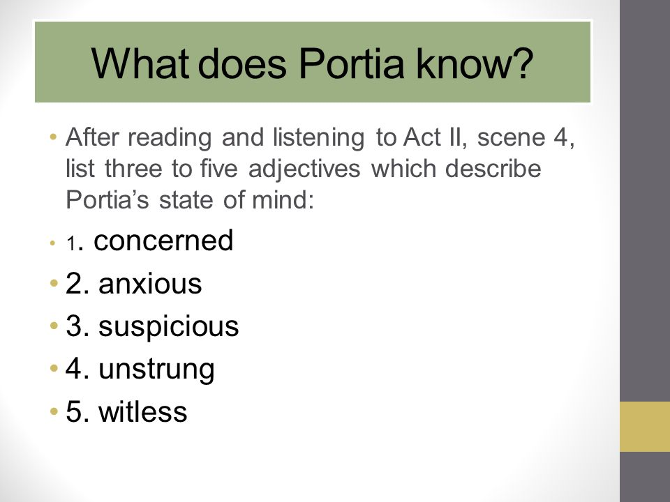 What does Portia know 2. anxious 3. suspicious 4. unstrung 5. witless