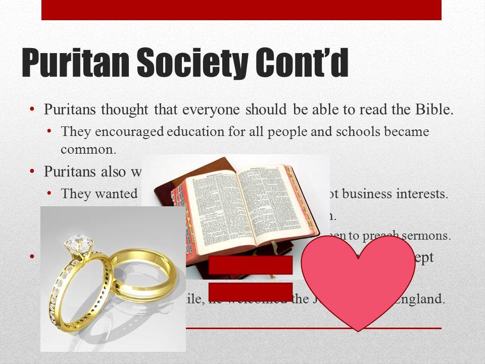 Puritan Society Cont'd