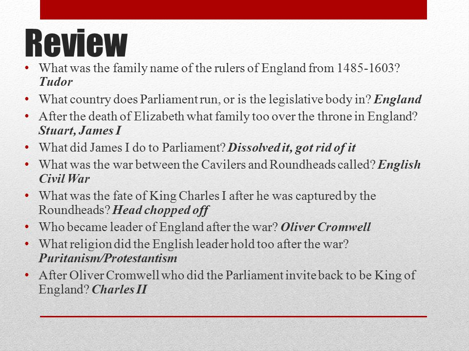 Review What was the family name of the rulers of England from 1485-1603 Tudor.