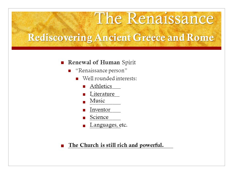 The Renaissance Rediscovering Ancient Greece and Rome