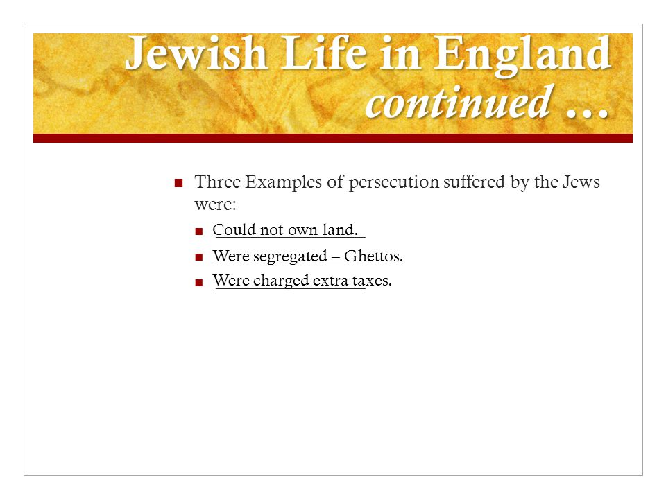 Jewish Life in England continued …