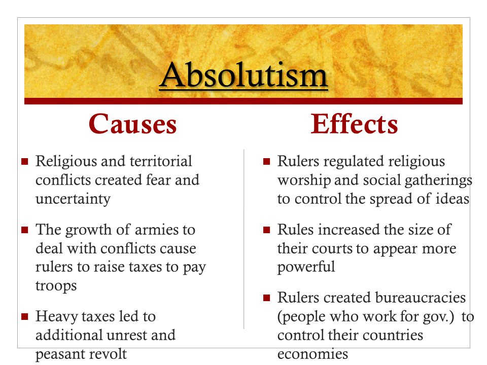 Absolutism Causes Effects