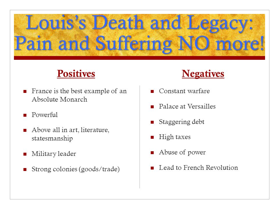 Louis's Death and Legacy: Pain and Suffering NO more!