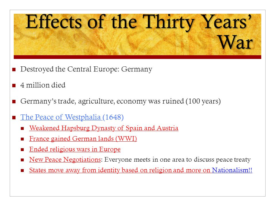 Effects of the Thirty Years' War