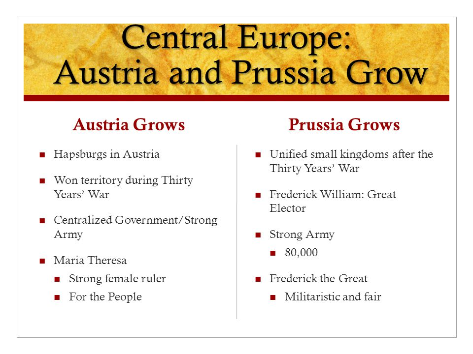 Central Europe: Austria and Prussia Grow