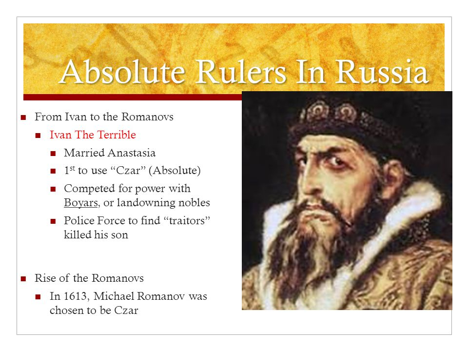 Absolute Rulers In Russia