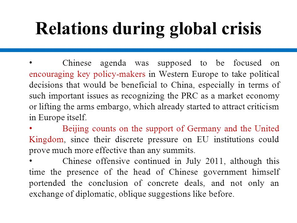 Relations during global crisis