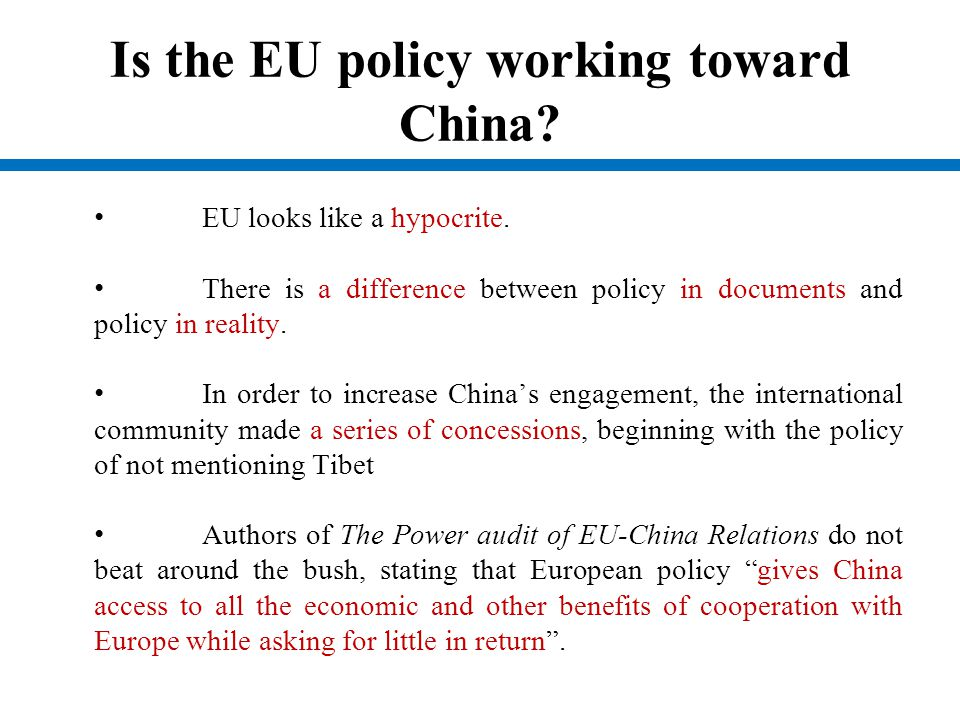 Is the EU policy working toward China