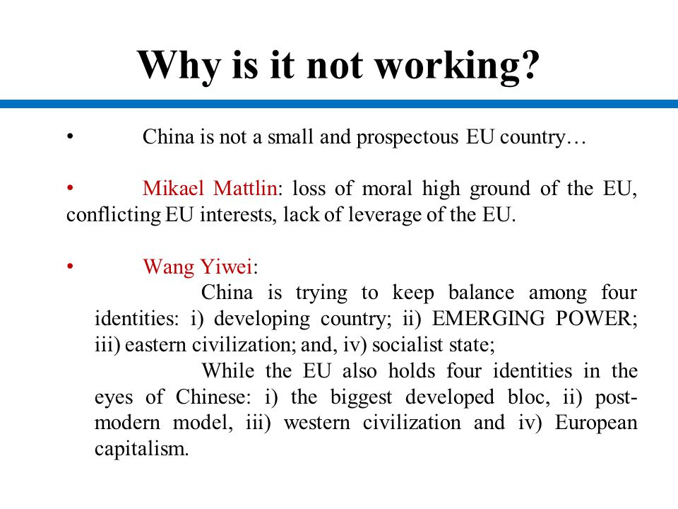 Why is it not working China is not a small and prospectous EU country…