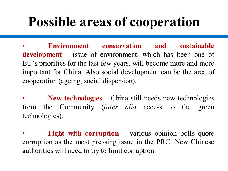 Possible areas of cooperation