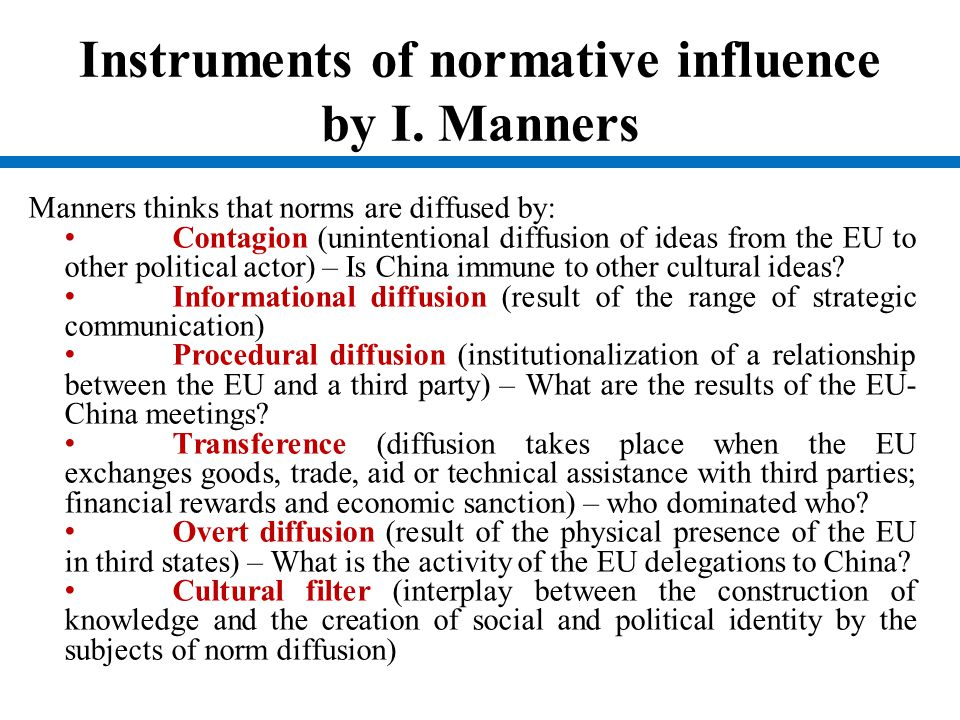 Instruments of normative influence by I. Manners