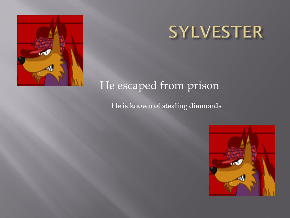 SYLVESTER He escaped from prison He is known of stealing diamonds