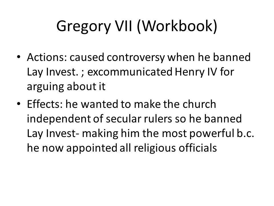 Gregory VII (Workbook)