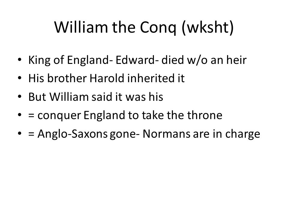 William the Conq (wksht)
