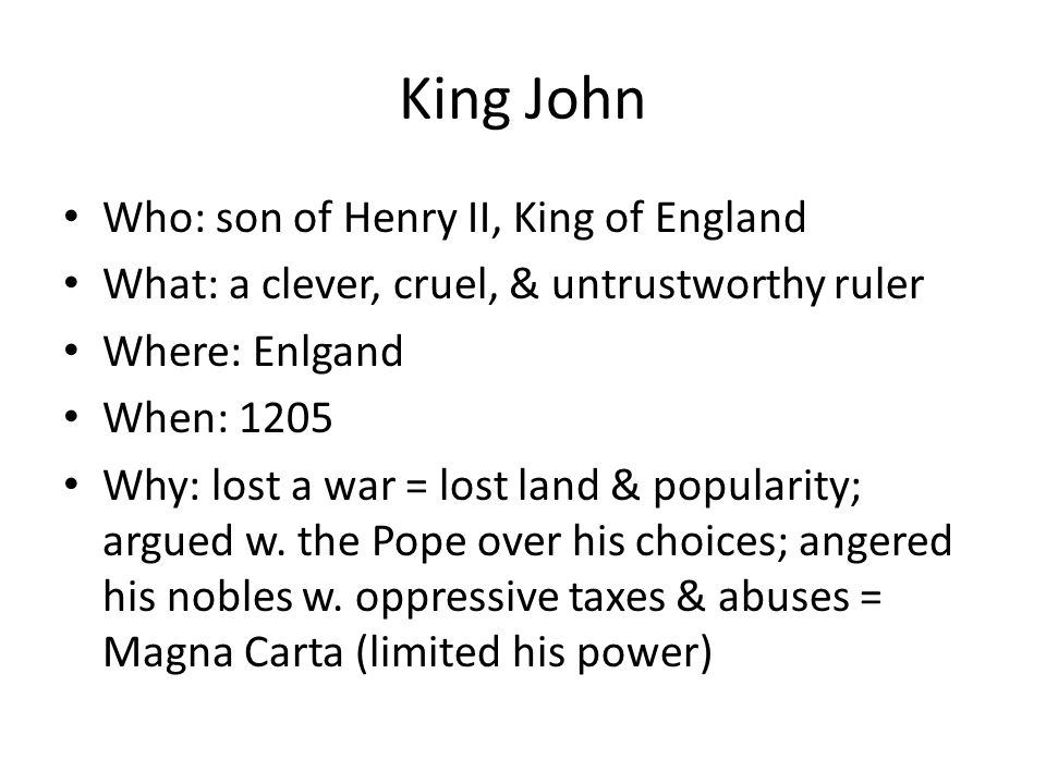 King John Who: son of Henry II, King of England
