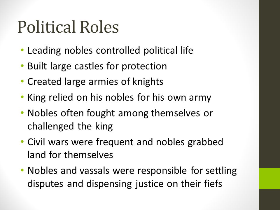 Political Roles Leading nobles controlled political life