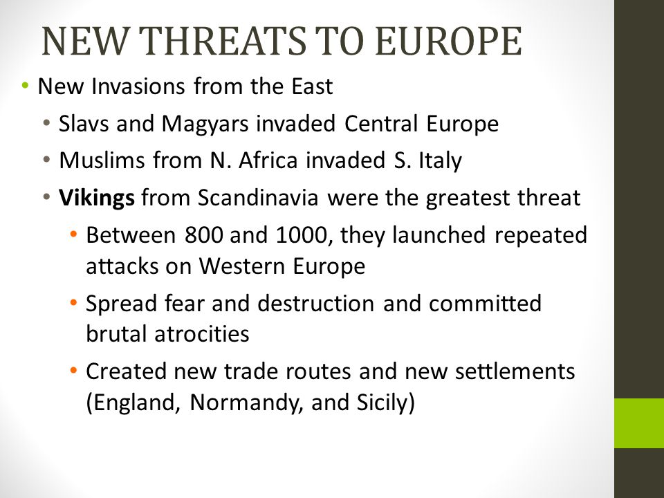 NEW THREATS TO EUROPE New Invasions from the East