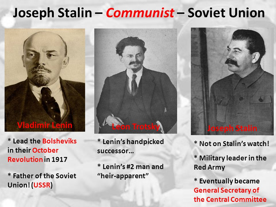 vladimir lenin karl marx leon trotsky joseph stalin russian revolution Communism: karl marx to joseph stalin communism: karl marx to joseph stalin communism has been one of the most influential economic theories of all times recognizing its influence is key to understanding both past and current events.