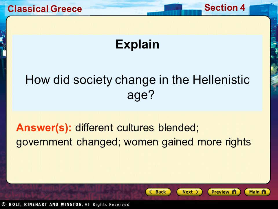 How did society change in the Hellenistic age