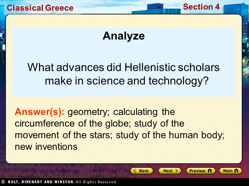 What advances did Hellenistic scholars make in science and technology