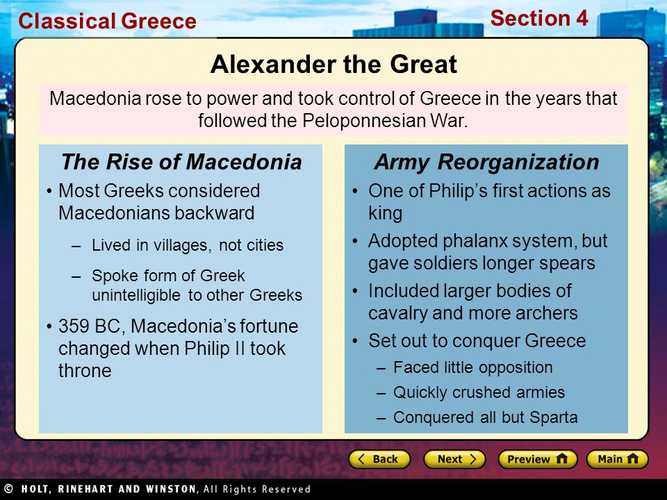 Alexander the Great The Rise of Macedonia Army Reorganization