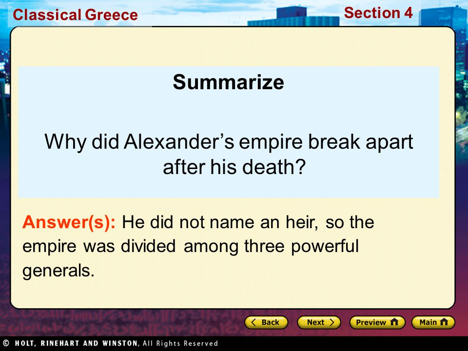 Why did Alexander's empire break apart after his death