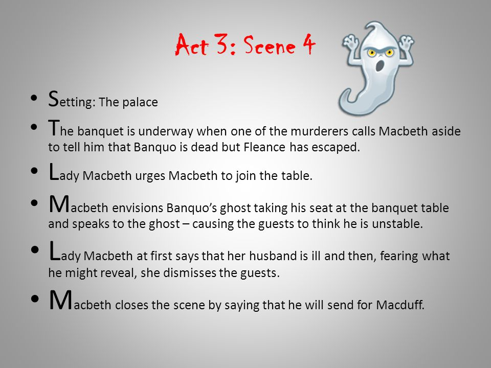 Macbeth closes the scene by saying that he will send for Macduff.