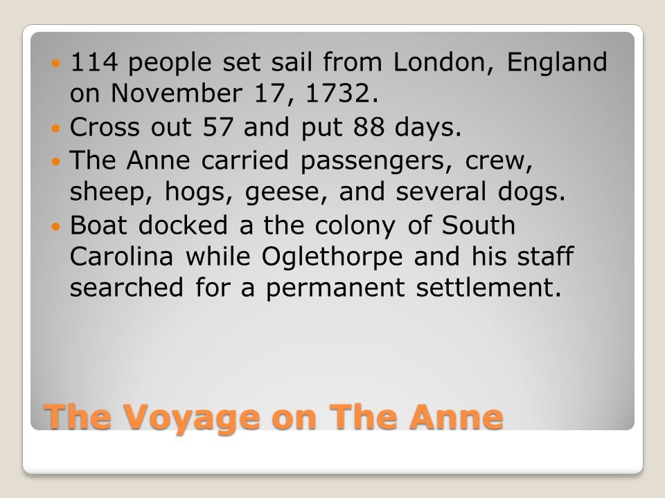 114 people set sail from London, England on November 17, 1732.