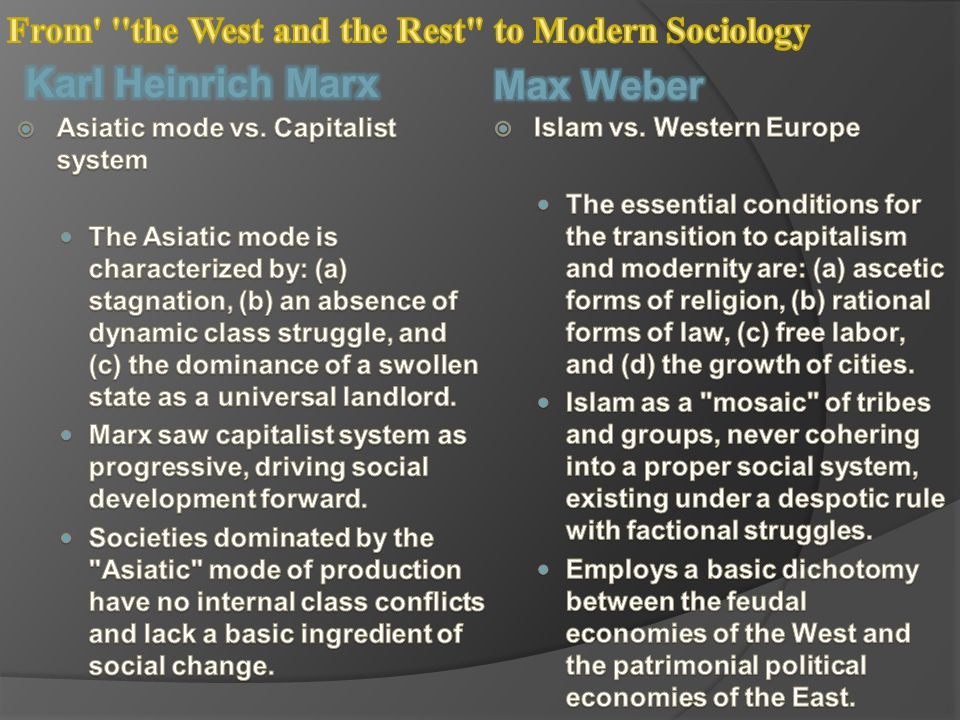 From the West and the Rest to Modern Sociology