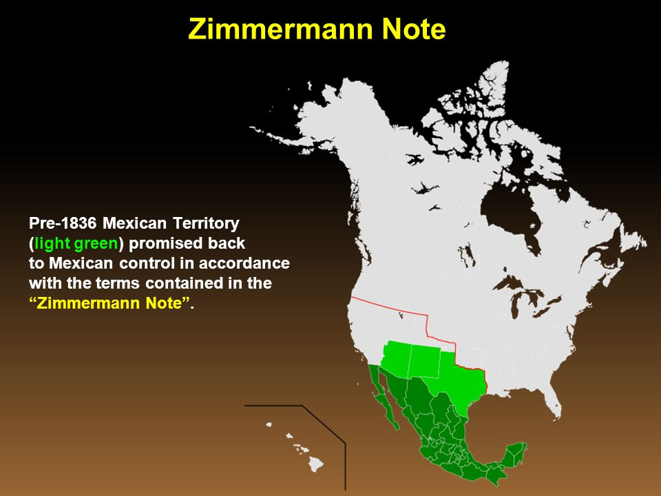 Zimmermann Note Pre-1836 Mexican Territory (light green) promised back