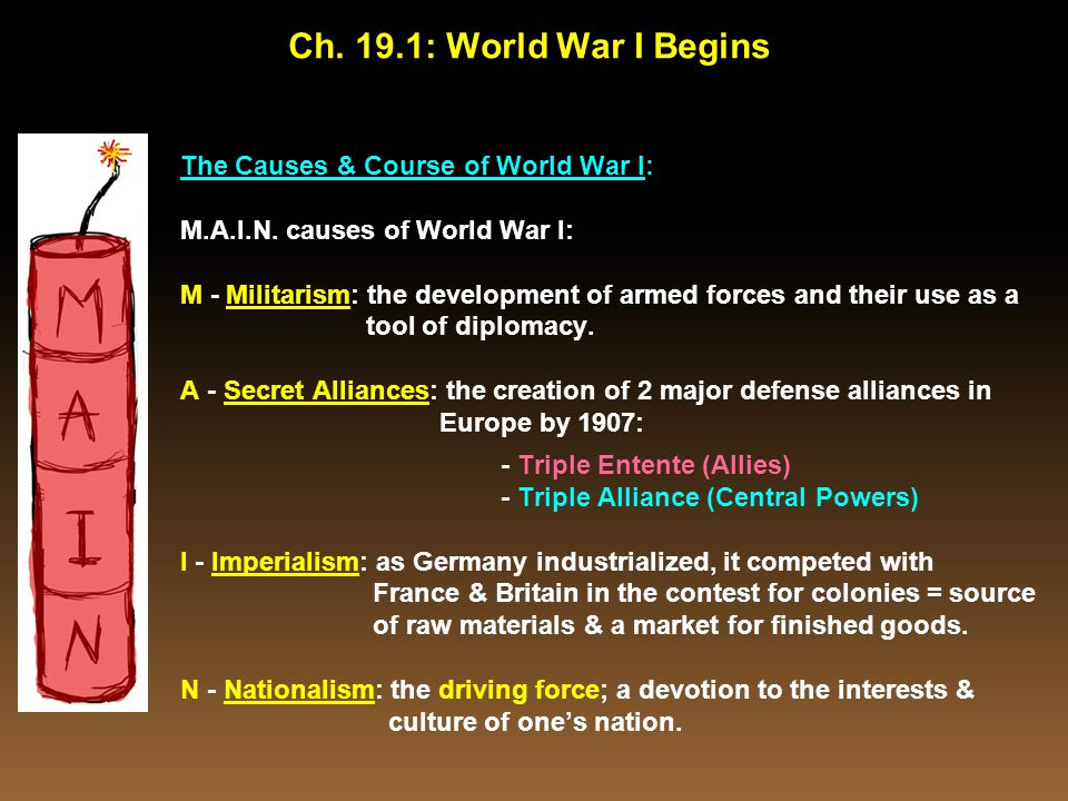 Ch. 19.1: World War I Begins The Causes & Course of World War I: