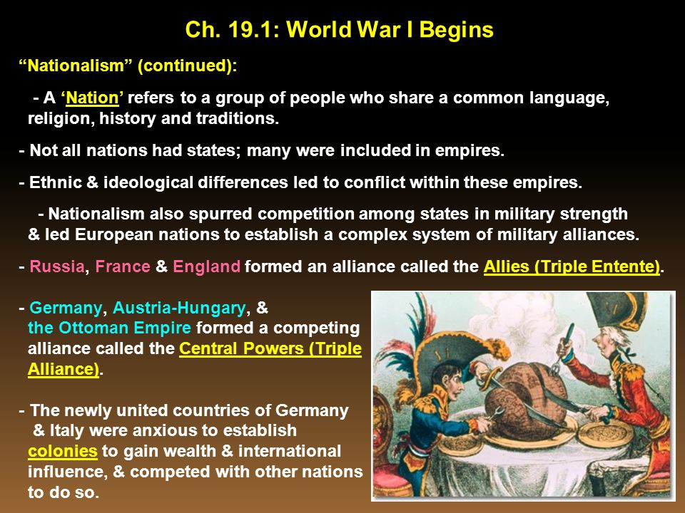 Ch. 19.1: World War I Begins Nationalism (continued):