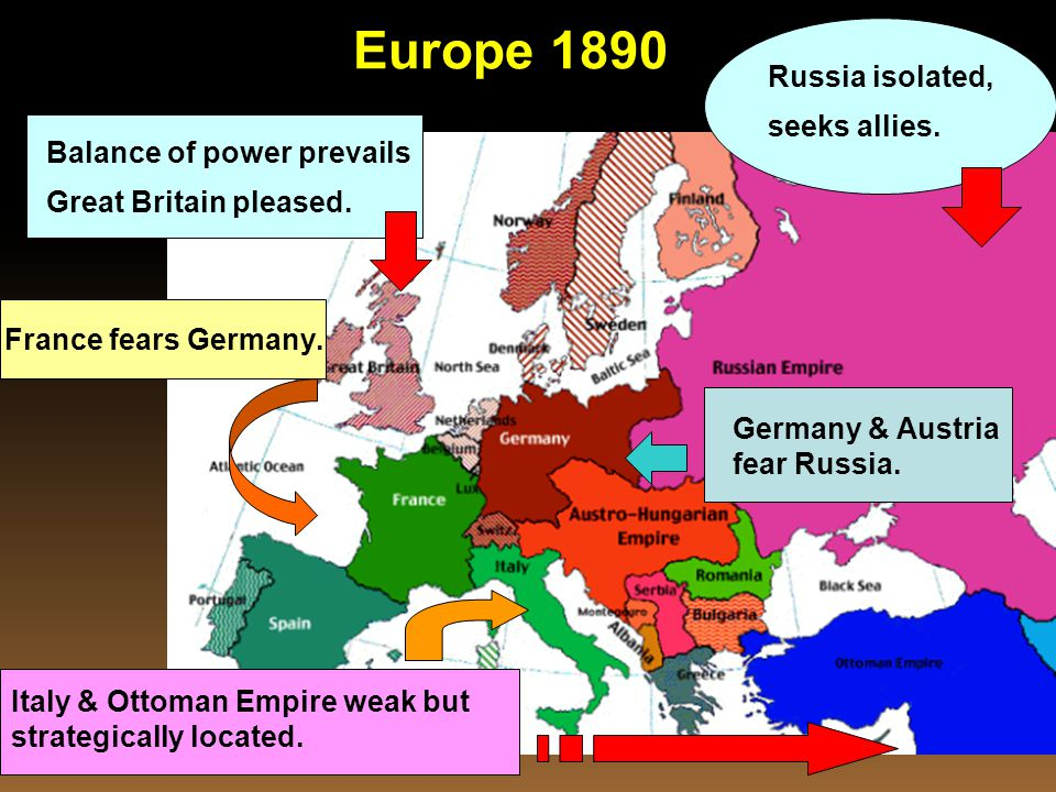 Europe 1890 Russia isolated, seeks allies. Balance of power prevails