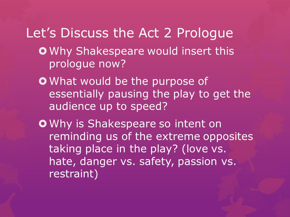Let's Discuss the Act 2 Prologue