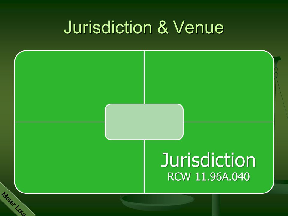 Jurisdiction & Venue Jurisdiction RCW 11.96A.040