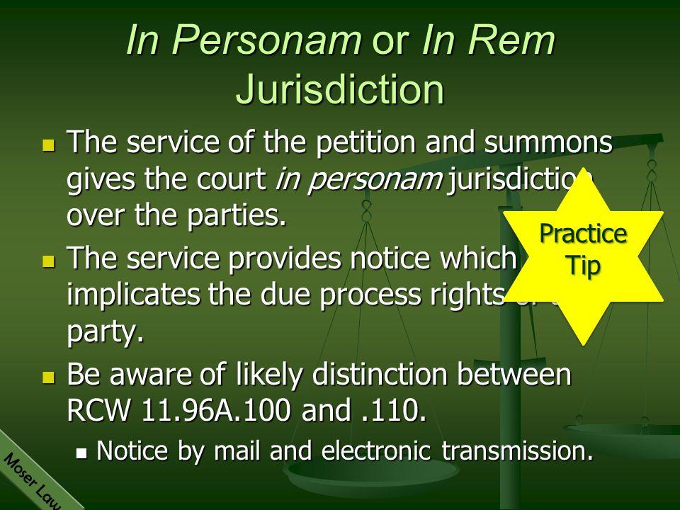 In Personam or In Rem Jurisdiction
