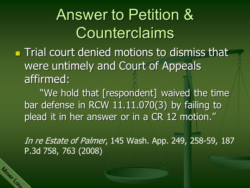 Answer to Petition & Counterclaims