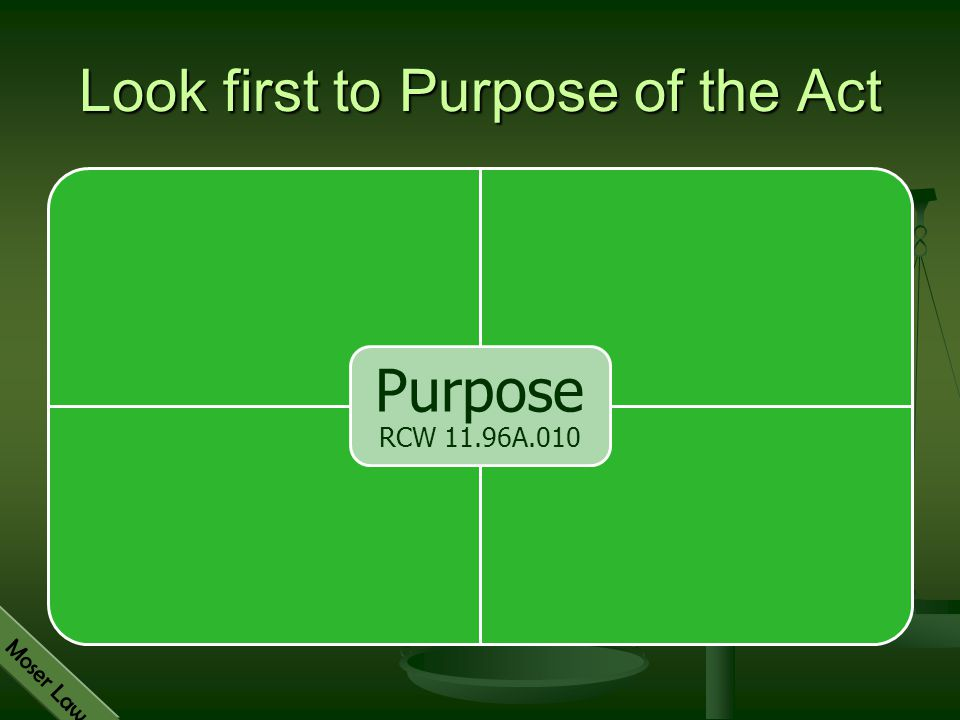Look first to Purpose of the Act