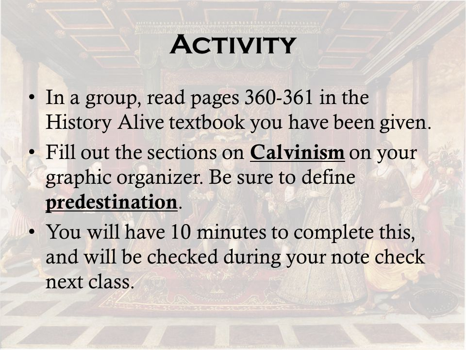 Activity In a group, read pages 360-361 in the History Alive textbook you have been given.